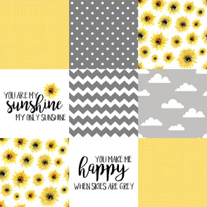 You are my sunshine//Yellow//Sunflowers - Wholecloth Cheater Quilt