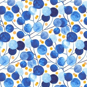Pompom plants in Cobalt & Gold (Small Version)