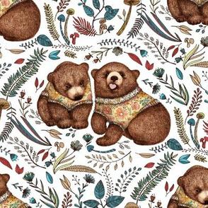 Whimsical Bear Pair - on white