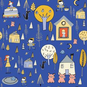 Wonderland Fairy Tale Blue Yellow