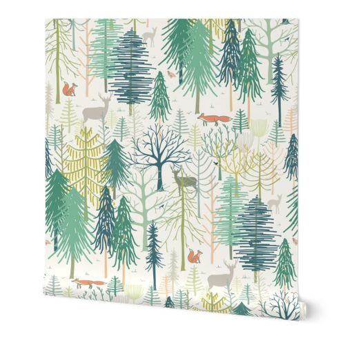 woodland winter wonderland XL wallpaper scale by Pippa Shaw