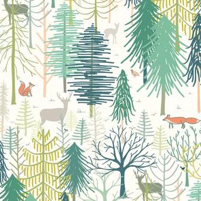 woodland winter wonderland XL wallpaper scale by Pippa Shaw