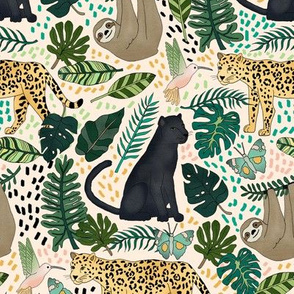 Emerald Forest Animals on Pink