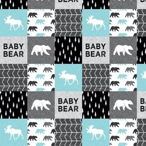 """(1.5"""" small scale) Baby Bear Woodland Patchwork - bear and moose - grey, black, teal C19BS"""
