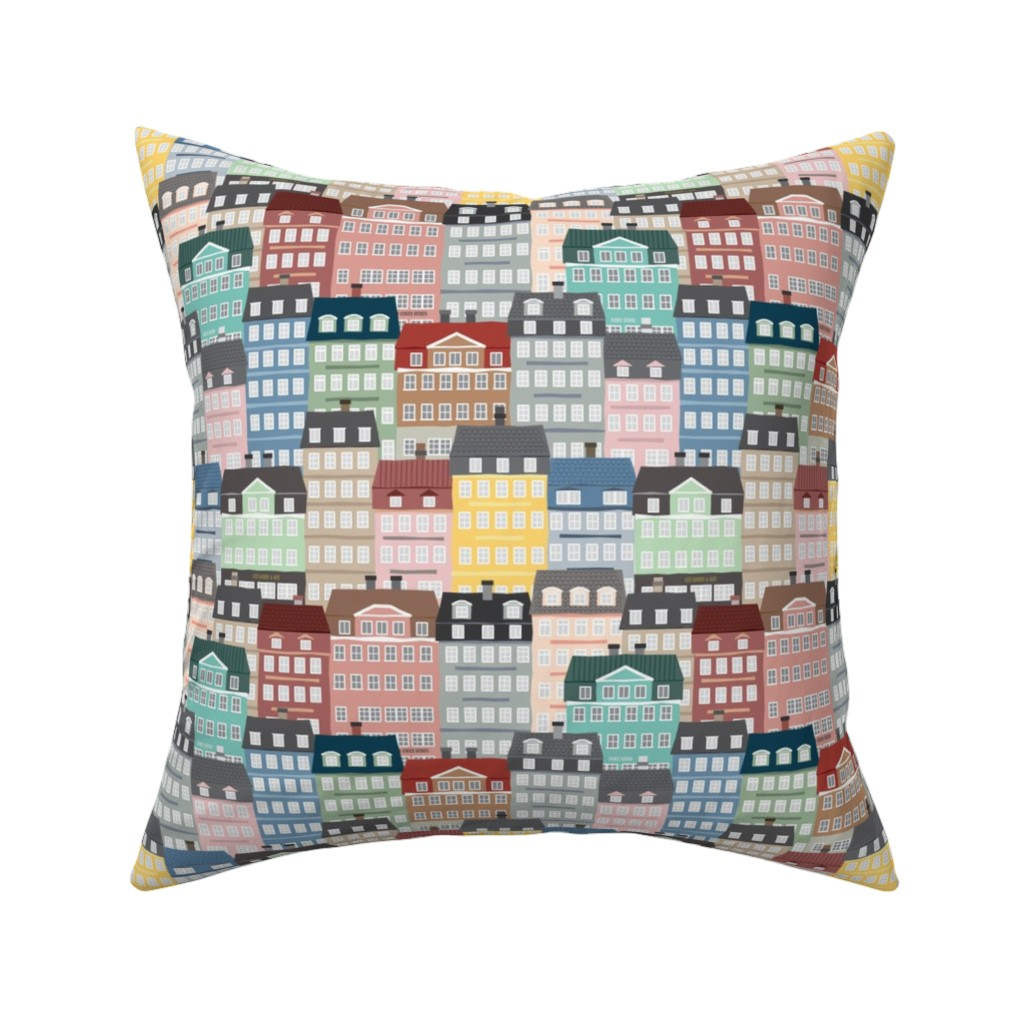 Catalan Throw Pillow featuring Wonderland of the Happy People-Small Scale by twigged