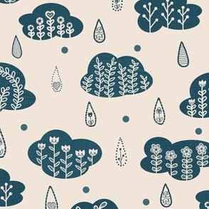 Folk Art Clouds and Rain Drops // hand drawn scandinavian folk art blue floral flower cloudy raindrops pattern fabric