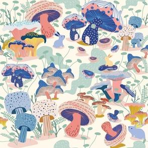 Whimsical mushroom village