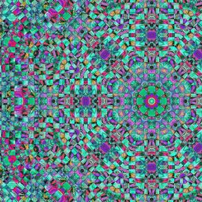 wild aqua and purple checkerboard kaleidoscope