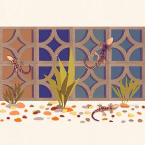 Geckos among the breeze blocks - blues with sepia tone