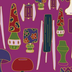 Jewel Tone 70's  purple, green, blue, res, yellow, cream lamps light 70's hand drawn repeating pattern