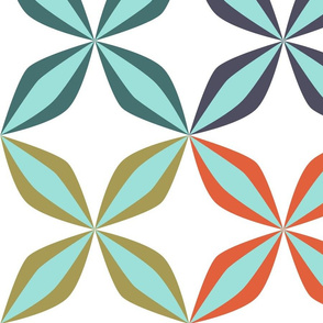 19-15v Mid-Century Modern Floral Quilt Panel