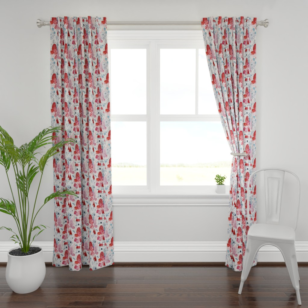 Plymouth Curtain Panel featuring Fairy tale woods by adenaj