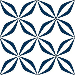 19-15u Quilt Panel Mid Century Abstract Floral Navy White Blue