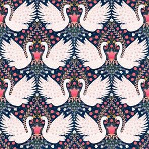 "Whimsical Swans (navy) 4"""