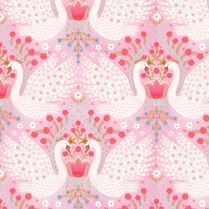 """Whimsical Swans (pink) 6"""""""