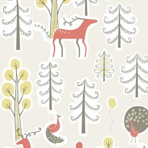 Deer and Peacock