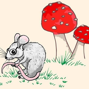 Whimsical Toadstool & Mouse in Glasses on Cream Large Scale