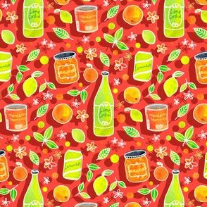 Lively Citrus Bounty - on coral red