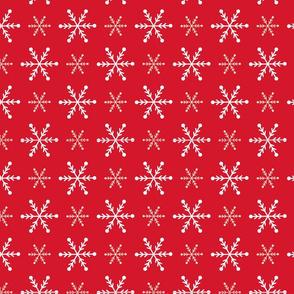 Christmas snowflakes red white