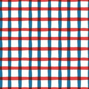 Wonky Plaid - Red, White and Blue Small