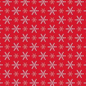 Christmas snowflakes red white small