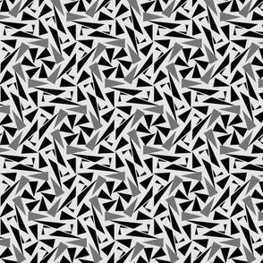 Mens Tie Black & Gray Triangles