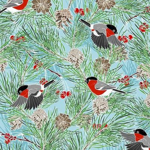 bullfinches and pine