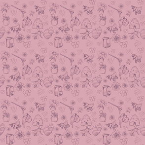Bees and Honey Nature Pink and muted purple smaller