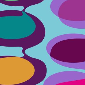 Jumbo bead curtain - jewel tones on turquoise