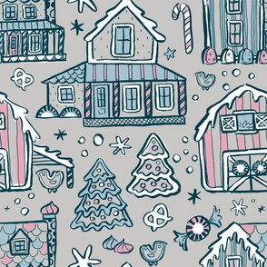 Gingerbread Farmhouses - Gray Blue Pink