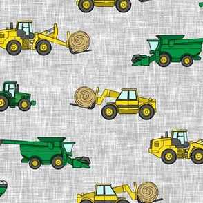 farming equipment - tractor farm - yellow and green on grey - LAD19