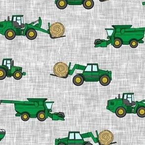 farming equipment - tractor farm - green  on grey - LAD19
