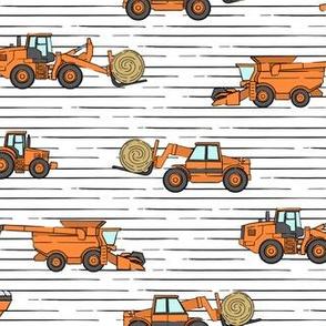 farming equipment - tractor farm - orange on stripes - LAD19