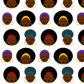 Afro Head Wraps on White _ Medium