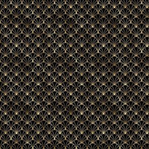 Small Scallop Shells in Black and Gold Art Deco Vintage Foil Pattern