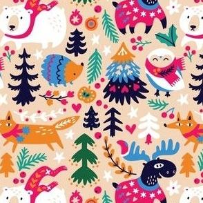 cozy winter day in bright colors