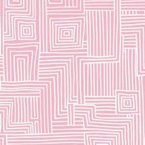 Mudcloth maze stripes minimal Scandinavian grid trend abstract geometric labyrinth pink white