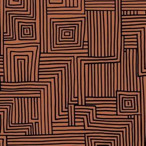 Mudcloth maze stripes minimal Scandinavian grid trend abstract geometric labyrinth copper rust brown