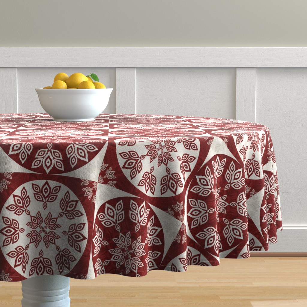 Malay Round Tablecloth featuring P192019 Christmas by ndn-design