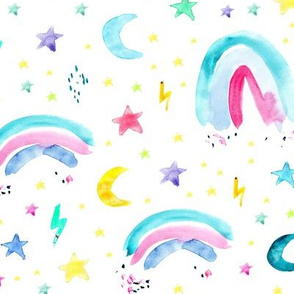 Watercolor rainbows, stars, sun, moon and rain • painted colorful design for modern nursery