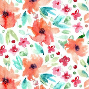 Sweet spring in orange • watercolor flowers