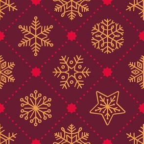 Christmas Snowflakes&Stars - Red&Gold