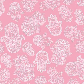 Soft Moroccan style hamsa hand of fatima lucky traditional texture design pink girls