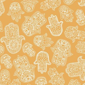 Soft Moroccan style hamsa hand of fatima lucky traditional texture design ochre yellow