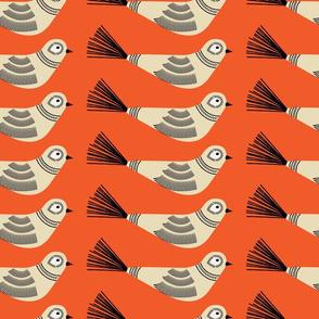 Feather Tree Birds ~ Persimmon