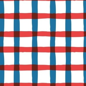 Wonky Plaid - Red, White and Blue Large