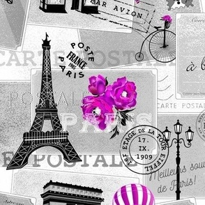 vintage mail from paris - pink