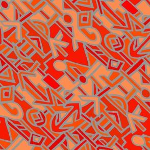 African BaKuba Wallpaper - 40x40 Red Orange Blue