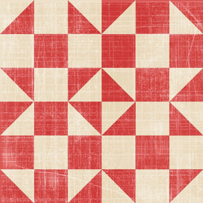 19-15o Traditional Antique Quilt Panel Farm Red Orange  Tan Shoofly