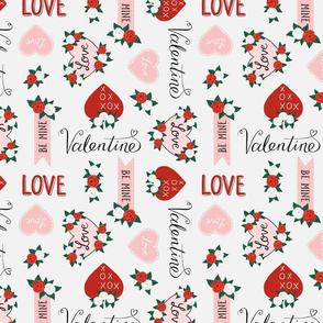 Valentine Hearts, Roses and Lettering
